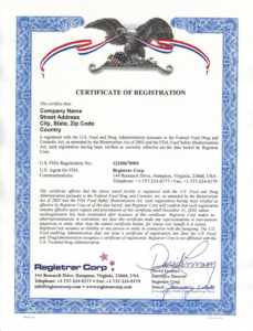 Certificate of Food Facility Registration Issued By Registrar Corp